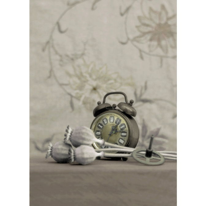 Clock with Poppy pods and cogwheel