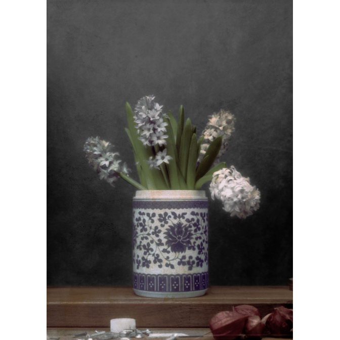 Hyacinths in Chinese vase with tape roll, screws and Physalis