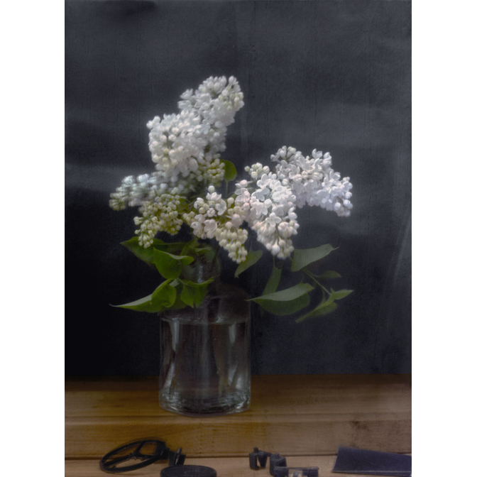 White Lilacs in glas vase with lens cap, black wheel and negative