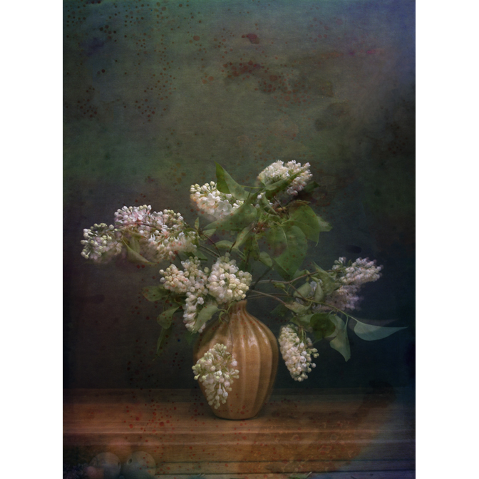 White Lilacs with wooden balls