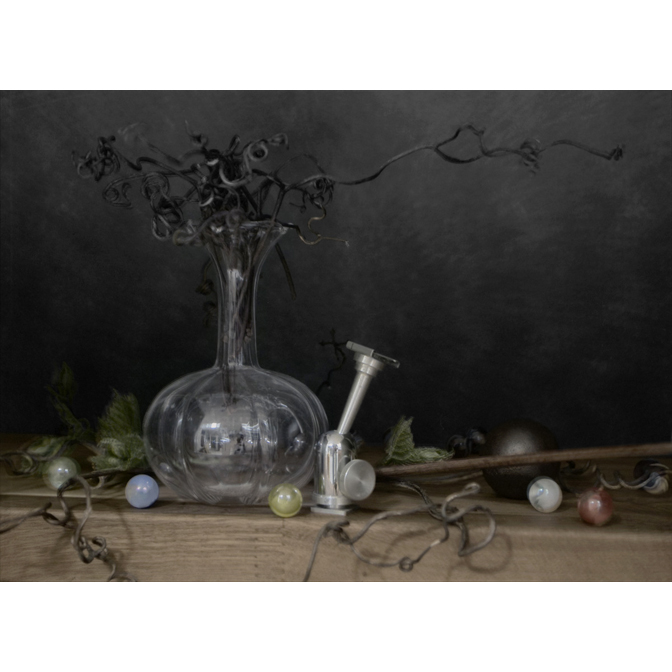 Grape branches with vase and Marbles