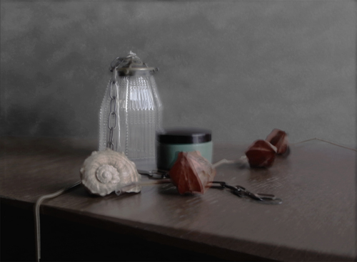 Glass Lamp Cover with Shell, Jar andPhysalis